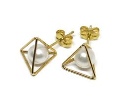 三角立体枠K18YG淡水パールピアス